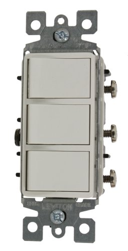 Leviton 1755-2W 15 Amp, 120 Volt, Individual Switches, Decora Brand Style Three Rocker Combination Switch, Commercial Grade, with Ground Screw, White