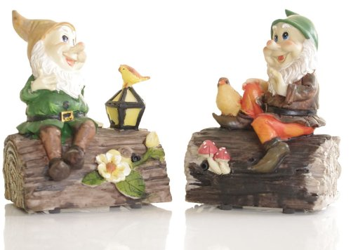 Cheeky Whistling Garden Gnome sat on a log - Put a smile in your garden