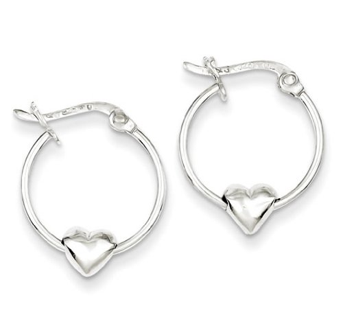 Heart Hoop Earrings in Sterling Silver for Girls or Teens