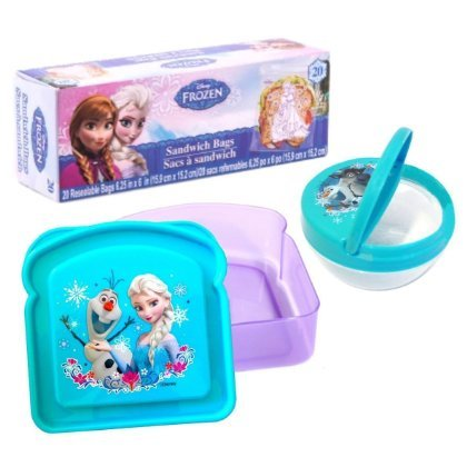 Disney Frozen Lunch Kit Bundle of 3 - Sandwich Box, Snack Bowl and Food Storage Bags - 1