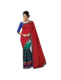Ashika Designer Red Raw Silk Material Saree, Sari(236)