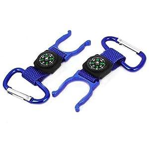 Aluminum Hiking Carabiner Belt Clip Water Bottle Holder Hook 2PCS Blue
