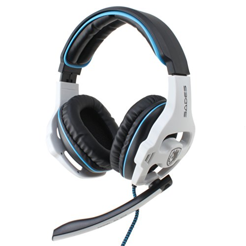 Sades Wired Usb Gaming Headset Headphone With Mic - 7.1 Surround Sound Effect, Noise Cancellation, Volume Control(White)