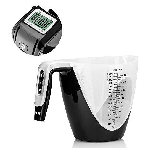 Etekcity Digital 6-cup Measuring Cup & Kitchen Food Scale, 11lb/5kg, black
