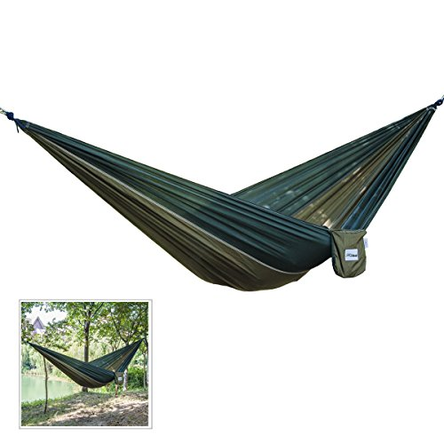 Hqdeal portable 2 person parachute nylon fabric camping for Fabric hammock chair swing