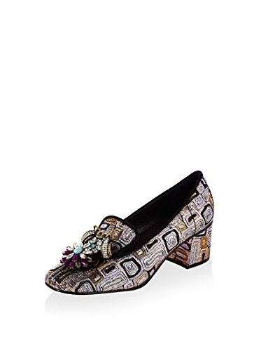 KOTUR Women's Lily Brocade Loafer with Embellishments