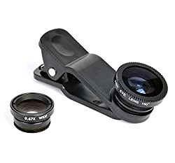 Mobilegear Universal 3 in 1 Mobile Camera Lens With Macro, Fiesheye & Wide Angel Lens for Smartphones Photography - Black