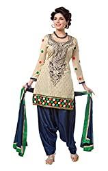 Cherry Creation Women's Cotton Unstitched Dress Material (Beige and Blue)