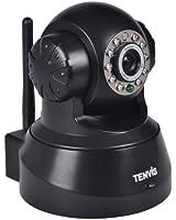 """Caméra IP de surveillance Tenvis JPT3815W - Caméra IP infrarouge motorisée de sécurité wifi sans fil d'intérieur à capteur CMOS 1/4"""" 300 000 Pixels - Caméra IP Pan & Tilt à vision nocture - Visualisation sur ordinateur smartphone et tablette n'importe où et n'importe quand -Détection de mouvement - Audio bidirectionnel - DDNS gratuit"""