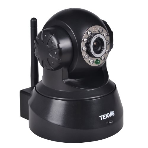 TENVIS JPT3815W Wireless IP Pan/Tilt/ Night Vision Internet Surveillance Camera Built-in Microphone With Phone remote monitoring support(Black)