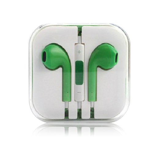 Green - Headphones W/ Mic & Vol Contrl Ear Pod Headset For Iphone/Ipod/Ipad