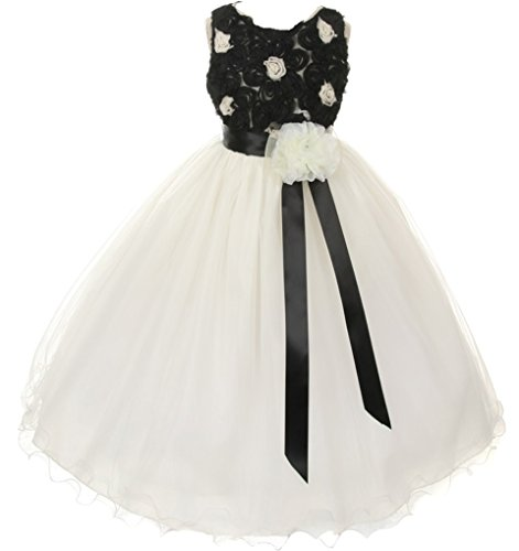 Akidress Floral Lace Top & Tulle Skirt Flower Girl Dress Black Ivory 2-12