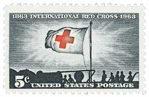 #1239 - 1963 5c Red Cross Centennial U. S. Postage Stamp Plate Block (4)