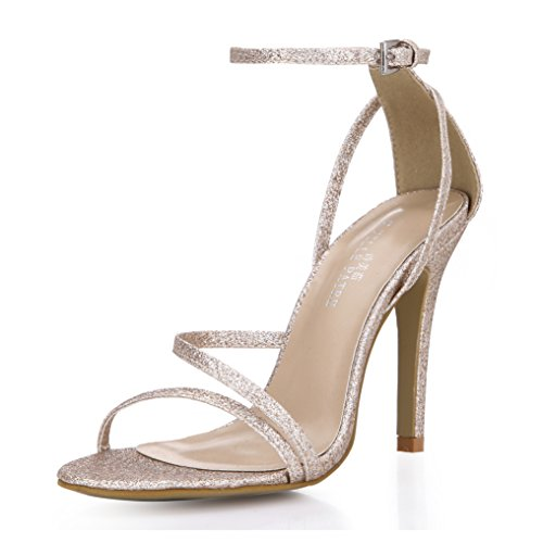 Glitter Golden Party Wedding Bridal Simple Sandal Pumps Prom Heeled Graduation High Heels Women Fashion Classic Open Toe Dress Thin Heels Ankle Strappy Slender Pub Club Sexy Evening Shoes SM00230
