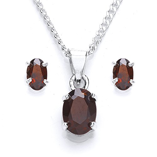 michic-silver-oval-garnet-pendant-and-earring-set-with-46-cm-chain
