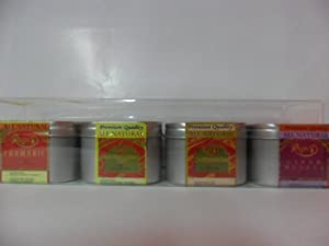 Turmeric Powder 4 Oz Madras Curry Hot 4 Oz Cardamom 4 Oz Garam Masala 4 Oz Gift Pack by Raivansa