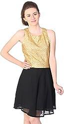 Unimod Women's A-Line Dress (Black, S)