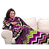 Snuggie Microplush with Chevron Stripes, Blanket with Sleeves