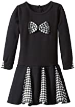 Nannette Girls 2-6X 1 Pieced Patterned Bow, Black, 6