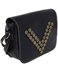 Artisan Crafted Leather Look Handbag With Metal Buttons Rivets And Adjustable Cross Shoulder Sling Strap (Black...