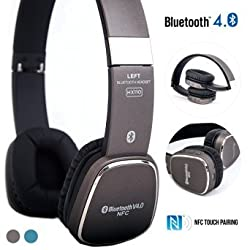 Bluetooth Headphones, Alpatronix® [HX110] Universal Noise-Isolating Wireless Stereo Rechargeable Headset with Mic, Volume & Playback Controls & NFC Touch Pairing for Smartphones, Tablets & PC - (Grey)