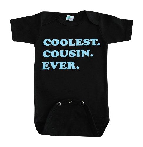 Kiddieco Baby Cool Cousin Black Onesie 3-6 Months Blue Print