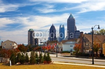 Wallmonkeys Peel and Stick Wall Decals - Houses against the Midtown. Atlanta, Ga. Usa. - 18