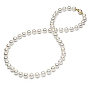 {Gold Box Deal} HinsonGayle Gem Collection Handpicked AAA 8.0-8.5mm White Cultured Freshwater Pearl Necklace (14k Yellow Gold) {{{GET A FREE NECKLACE WITH COUPON, SEE DETAILS BELOW}}}