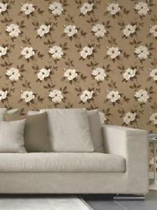 Fine Decor Magnolia Wallpaper - Chocolate and Gol from New A-Brend