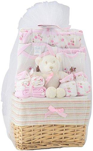 Big Oshi Baby Essentials 10 Piece Layette Basket Gift Set, Pink, 0-6 Months