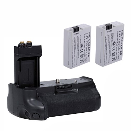 Neewer® Battery Grip Replacement Batteries Kit For Canon Eos 550d 600d 700d/ Rebel T2i T3i T5i Digital Slr Cameras Includes: 1x Bg-e8 Battery Grip + 2x Lp-e8 Rechargable Li-ion Battery