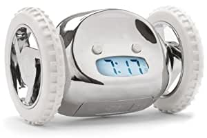 Nanda Clocky Alarm Clock On Wheels, Chrome