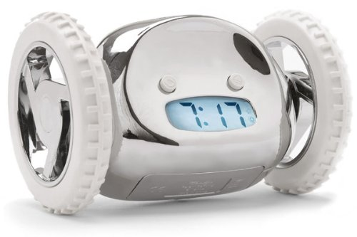 Clocky Alarm Clock on Wheels, Chrome