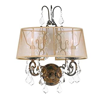 World Imports 1962-90 Belle Marie Collection 2-Light Wall Sconce, Antique Gold