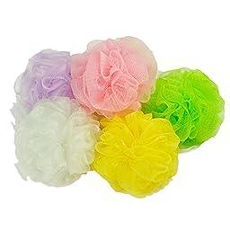 Voberry® 5 Pcs Multicolor Supper Soft Bath Ball Body Brush Wash Mesh Sponge Balls Pouf Cleaning(random Color)