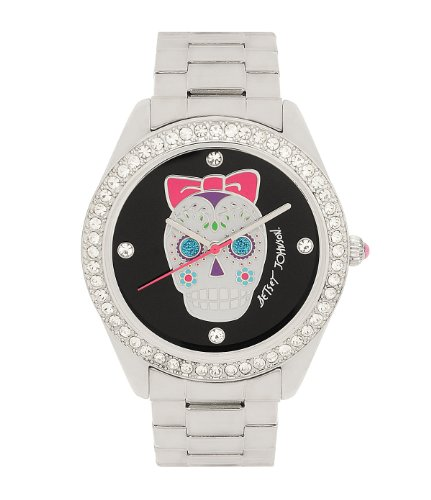 Betsey Johnson Crystal Dial Silvertone Skull Watch