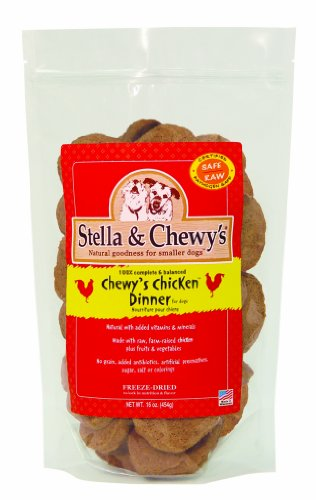 Stella & Chewy's Freeze Dried Dog Food for Adult Dogs, Chicken Patties, 32 Count, 16 Ounce Bag