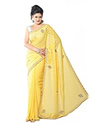 Aarti Saree Chiffon Stone Work Saree with Blouse Piece (Sbf7021 _As Shown In Image)