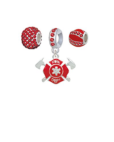 Red Fire Department Shield with Axes - Sparkle Red Charm Beads (Set of 3)