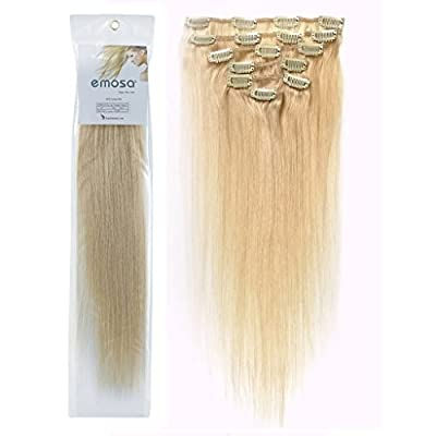 Emosa Luxury Clip in Human Hair Extensions Platinum Blonde 15inch-22inch