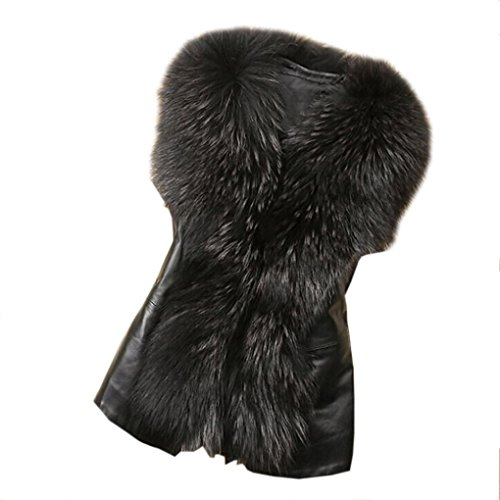 Koly _Womens Faux Fur Vest giacca senza maniche invernale (S, Nero)