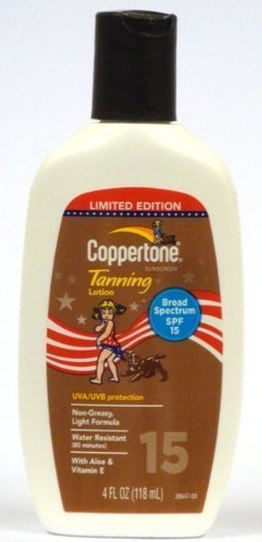 Coppertone Sunscreen Tanning Lotion, SPF 15, 4 Oz