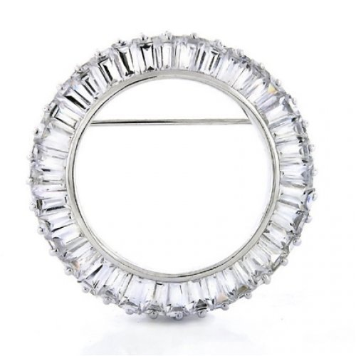 Bling Jewelry Sterling Silver Baguette CZ Circle