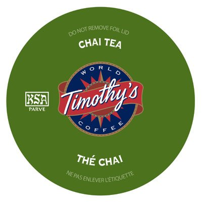 Timothy's World Coffee Chai Tea K-Cups (24 count)