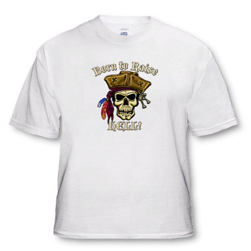 PIRATE SKULL WITH Born To Raise Hell - Toddler T-Shirt (3T)