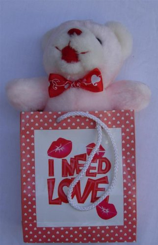 I Need Love Teddy Bear Stuffed Animal Plush Toy - Teddy Bear in Bag - 9 inches tall