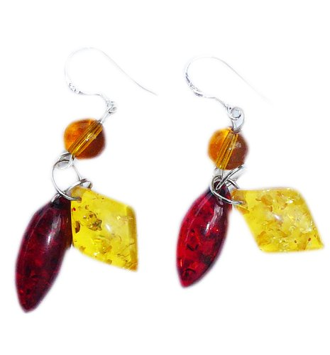 2 colors Amber Earrings on 925 sterling silver hooks