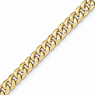 14k Gold Hollow Curb or Cuban Chain Bracelet with Lobster Clasp (6.6mm)