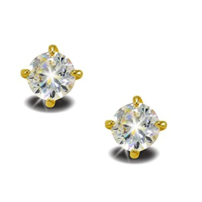 Beautiful 6mm SYNTHETIC DIAMOND 18K 18ct GOLD FILLED STUD EARRINGS