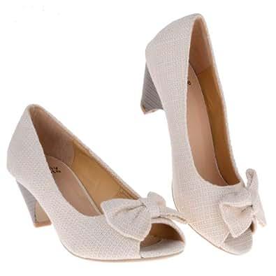 Cream Peep Toe Court Shoes